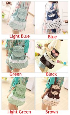 Cheap Summer Sweet Lovely Polka Dot Bow Backpacks For Big Sale!This Fresh Bow Contrast Color Lovely Polka Dot Backpack mix a varieties of color Polka Dot Backpack, Lace Backpack, Striped Backpack, Floral Backpack, Canvas Backpack, Fashion Backpack, Fashion Bags, Backpacks For Teens School, Backpack For Teens