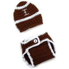 Crochet Baby Football Hat and Diaper Cover by SimplySoftBabyLoft, $35.00
