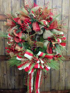 Rustic Christmas Burlap Wreath
