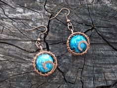 Round copper women earrings Blue wire wrap spiral earrings