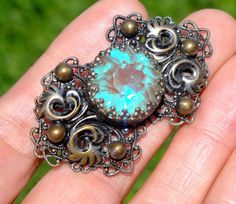 HUGE 1800'S VICTORIAN SAPHIRET BROOCH 19mm  MASSIVE RARE STONE unfoiled