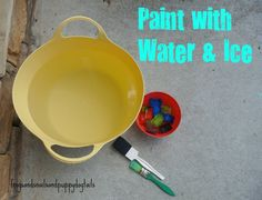 Paint with Water and Colored Ice- great activity for toddlers and preschoolers