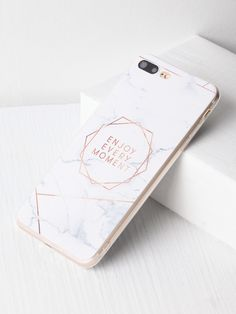 98a5b7a842 Shop Marble Pattern With Letter Print iPhone 7 Plus Case online. SheIn  offers Marble Pattern With Letter Print iPhone 7 Plus Case & more to fit  your ...