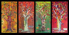 watercolor, pointillism, colors and seasons