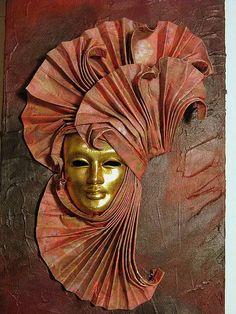 Acrílico sobre tela com máscara de Venesa - Acrylic on canvas with a mask of Venice Carnival | par Oh!.. So cute!
