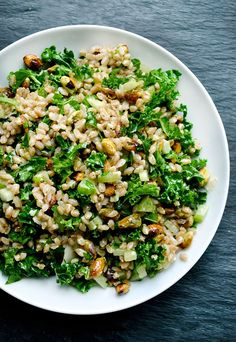 healthy dinner recipes // Pistachio, Farro and Kale Salad Recipe // 10 Healthy Alternatives to Our Favorite Pasta Dishes | The Everygirl