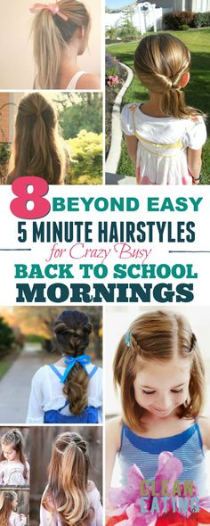 Easy 5 minutes Hairstyles (for crazy back to school mornings) Easy 5 minute hairstyles for busy school mornings that I reckon I could even do in the car.Easy 5 minute hairstyles for busy school mornings that I reckon I could even do in the car. Cute Toddler Hairstyles, Easy Hairstyles For Kids, Trendy Hairstyles, Braided Hairstyles, Short Haircuts, Hairstyle For Kids, Gorgeous Hairstyles, Braided Ponytail, Girls School Hairstyles