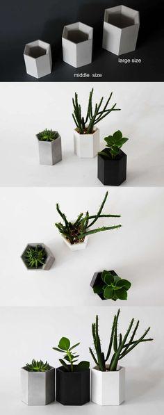 Handmade Concrete Hexagon Style Succulent Planter / Flower Pot /Pen Pencil Holder Office Desk Stationery Organizer