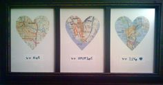 Heart Map Wedding Gift...using alphabet stamps.