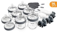 Baby Brezza Glass Bottle Gift Set: 14 Pieces - Baby Bottles Gift Set - Baby Brezza