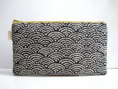 Seigaiha. Pencil Case, Pencil Pouch. Traditional Japanese fabric print. Navy blue, Minimalist, Zen.