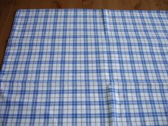 Cottage Check Checked  Pillowcase Pillow Case  Pillow Sham Fabric  Cotton and   Linen Upholstery Plaid Kelsch Blue White Black. $17.90, via Etsy.