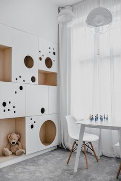 MUS architects' wireframe apartment in cracow is designed to adjust the clients' lifestyle - pokój dziecięcy - Studio Apartment Decorating, Kids Room Design, Kid Spaces, Kids Furniture, Luxury Furniture, Kids Bedroom, Bedroom Ideas, Bedroom Wall, Kids Rooms