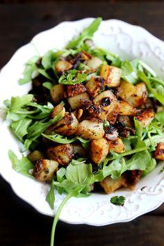 Crispy Herbed Potato and Arugula Salad with Mozzarella, Garlic, Basil, Chili, Rosemary, Thyme, Maple and Cayenne