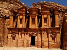 The monastery in Petra, Jordan. You have to climb a winding mountain path of 800+ steps, some worn to smoothness to get here.
