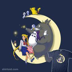 Anime Mashup T-Shirt by Batang Moonlight Buddies is an anime mashup t-shirt featuring Sailor Moon, My Neighbor Totoro and Pokemon. Sailor Moons, Sailor Moon Usagi, Sailor Moon Art, Manga Anime, Manga Art, Anime Art, Anime Crossover, Pokemon, Pikachu