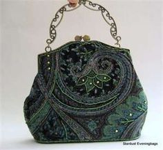 Black Evening Bag - 1930s - love the colors