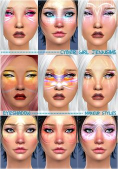 Jennisims s sims 4 makeup styles cyber girl eyeshadow male female updates finds must haves free Sims 4 Cc Skin, Sims Cc, Los Sims 4 Mods, Mermaid Skin, Sims 4 Anime, Sims Packs, Sims 4 Cc Makeup, Sims 4 Update, Sims 4 Cc Finds