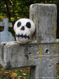 Try a skull and crossbones! This fun, expressive motif can mean pirate or punk or poison, Halloween or Dia de los Muertos or everyday goth accessory. I've also included a few other pirate patterns. Halloween Knitting Patterns, Knitting Patterns Free, Free Knitting, Knitting Projects, Knitting Ideas, Crochet Patterns, Crochet Fall, Knit Crochet, Crochet Things
