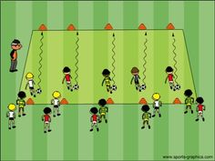 Coach kids relay races competitions for dribbling, turning and passing.                                                                                                                                                                                 More