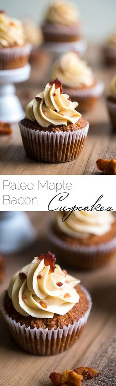 Paleo Maple Bacon Gluten Free Cupcakes - Naturally sweetened with maple syrup, swirled with bacon and topped with Bacon Buttercream | Foodfaithfitness.com | @FoodFaithFit