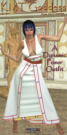 KMT Goddess - $10.00 : Fantasies Realm Market!: Unleash the Goddess within your runtime with KMT Goddess, a dynamic Poser outfit for V4.  Your Goddess will dazzle in this sexy re-imagination of an ancient Egyptian dress called a Kalasaris.  She'll turn the pharaoh's head wearing her ensemble with the cape and the sash or Shendyt, a girdled over-skirt.  KMT Goddess includes: 4 dynamic props : Kalasaris, Cape, Sash, & Shendyt 5 3000 X 3000 textures for the Kalasaris 5 3000 X 3000 textures for the