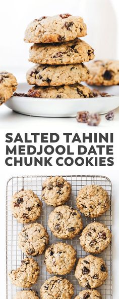 Tahini Medjool Date Chunk Cookies. Crunchy outside, sweet/salty and soft-baked inside, these oatmeal cookies just might be better than chocolate chip! Cookies crunchy Tahini Medjool Date Chunk Cookies (vegan + gluten-free) Vegan Dessert Recipes, Vegan Sweets, Whole Food Recipes, Cookie Recipes, Snack Recipes, Date Fruit Recipes, Date Recipes Healthy, Date Recipes Gluten Free, Healthy Vegan Desserts