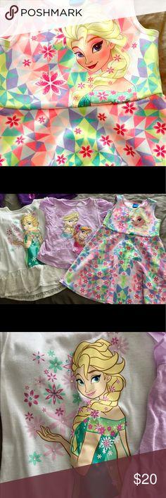 Girls bundle Frozen Disney Frozen dress, plus 2 shirts.  Excellent condition! Disney Shirts & Tops