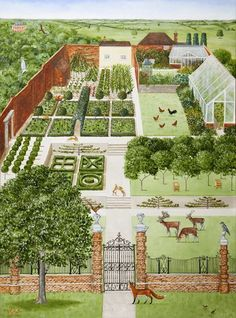 Rebecca Campbell – House portraits - All For Garden Homestead Layout, Homestead Farm, Formal Garden Design, Farm Layout, Farm Plans, Vegetable Garden Planning, The Farm, Farm Gardens, Veggie Gardens