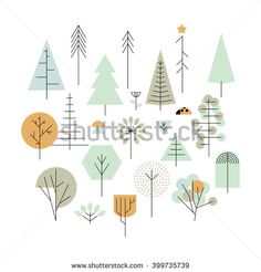 Trees geometric line icons, vector design elements. Trees: palm tree, fir-tree, oak, pine. White background. Vector illustration.