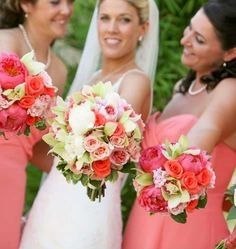 pretty bouquets - nice shades of coral, peach, pink and green.....Add white to the bride's bouquet!