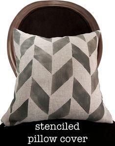 DIY stenciled pillow project via @Debbie Thiele Smith