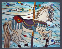 Carousel horse in stained glass