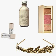 Ebb & Flow Goddess Dust, $18, Buy it now; Estée Lauder Bronze Goddess Summer Glow Multi-Palette, $50, Buy it now; Jennifer Behr Eos headband, $298, Buy it now; Windsor Edwards Lip Balm, $16, Buy it now