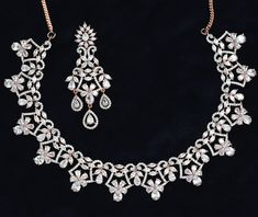 Rose gold Necklace with CLEAR stones Wedding Jewellery Designs, Wedding Jewelry, Jewelry Design, American Diamond Jewellery, Diamond Jewelry, Necklace Set, Gold Necklace, Indian Jewelry Sets, Quality Diamonds