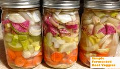 """Fermented root vegetables (""""For dairy allergy add a couple Tbsp of leftover unpasteurized sauerkraut juice as a starter in each jar."""")"""
