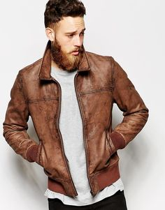 $226, Brown Leather Bomber Jacket: Asos Brand Leather Harrington. Sold by Asos. Click for more info: http://lookastic.com/men/shop_items/188731/redirect