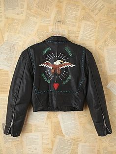 Vintage John David Mahaffey Hand-Painted Leather Jacket. http://www.freepeople.com/vintage-loves-brushed-beauties/vintage-john-david-mahaffey-hand-painted-leather-jacket-24654568/