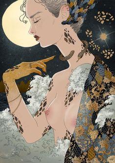Shedding by Fernanda Maya Mystic Moon, Portrait Illustration, Manga Comics, Submissive, Pattern Fashion, Maya, Fantasy Art, Disney Characters, Fictional Characters