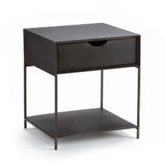 MAMBO Metal Bedside Table AM.Simple and elegant, this sleek metal furniture makes a practical beside cabinet or side table. Metal Sideboard, Metal Nightstand, Bedside Cabinet, Furniture Making, Living Room Furniture, Home Furniture, Furniture Shopping, Sliding Cupboard, Diy Furniture