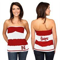 @Fanatics #FanaticsWishList - Nebraska Cornhuskers Ladies Scarlet-White Striped Rebound Tube Top