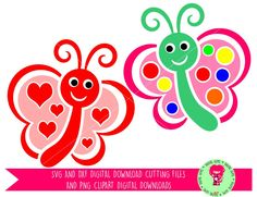 Butterflies With Hearts and Dots SVG / DXF Cutting Files for Cricut / Silhouette & PNG Clipart, Digital Download, Commercial Use Ok by DigitalGems on Etsy