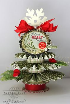 Rosette Christmas Tree by Authentique Paper Design Team Member Shellye McDaniel Christmas Past, All Things Christmas, Vintage Christmas, Christmas Diy, Christmas Ornaments, Handmade Christmas, Christmas Paper Crafts, Christmas Activities, Christmas Decorations To Make