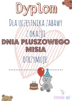 Dzieckiem bądź: Dyplomy na Dzień Pluszowego Misia Preschool Crafts, Kids And Parenting, Diy And Crafts, Kindergarten, Techno, Memories, Education, Children, Fun