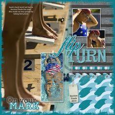 Flip Turn Swimming Digital Additions Scrapbook Layout-Creative Memories