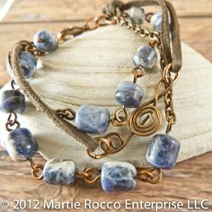 Sodalite, leather, copper 3 strand bracelet with G clef. 1199 | MartieRocco - Jewelry on ArtFire