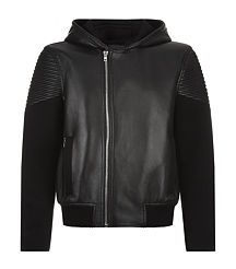Givenchy Leather Biker Hoodie