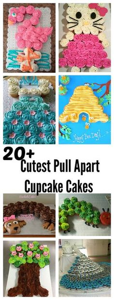 20 Cutest and Most Creative Pull Apart Cupcake Cakes (birthday cake decorating flowers) Pull Apart Cupcake Cake, Pull Apart Cake, Cupcake Torte, Cupcake Cookies, Frozen Cupcake Cake, Cupcake Cake Designs, Cupcake Dress Cake, Baby Shower Cupcake Cake, Cupcakes Design