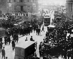 NYC. 100 years ago, in 1912, a Disaster Captivated the City: The sinking of RSM Titanic. Crowds gathered outside the offices of the White Star Line on lower Broadway seeking news of the Titanic.