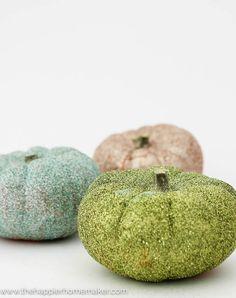Simple Glittered Pumpkins